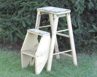 Shabby Chic Step Stool   Ladder   Combination Convertible Chair   Seat   Step  Stool   Folding   Portable   Antique Wood Furniture