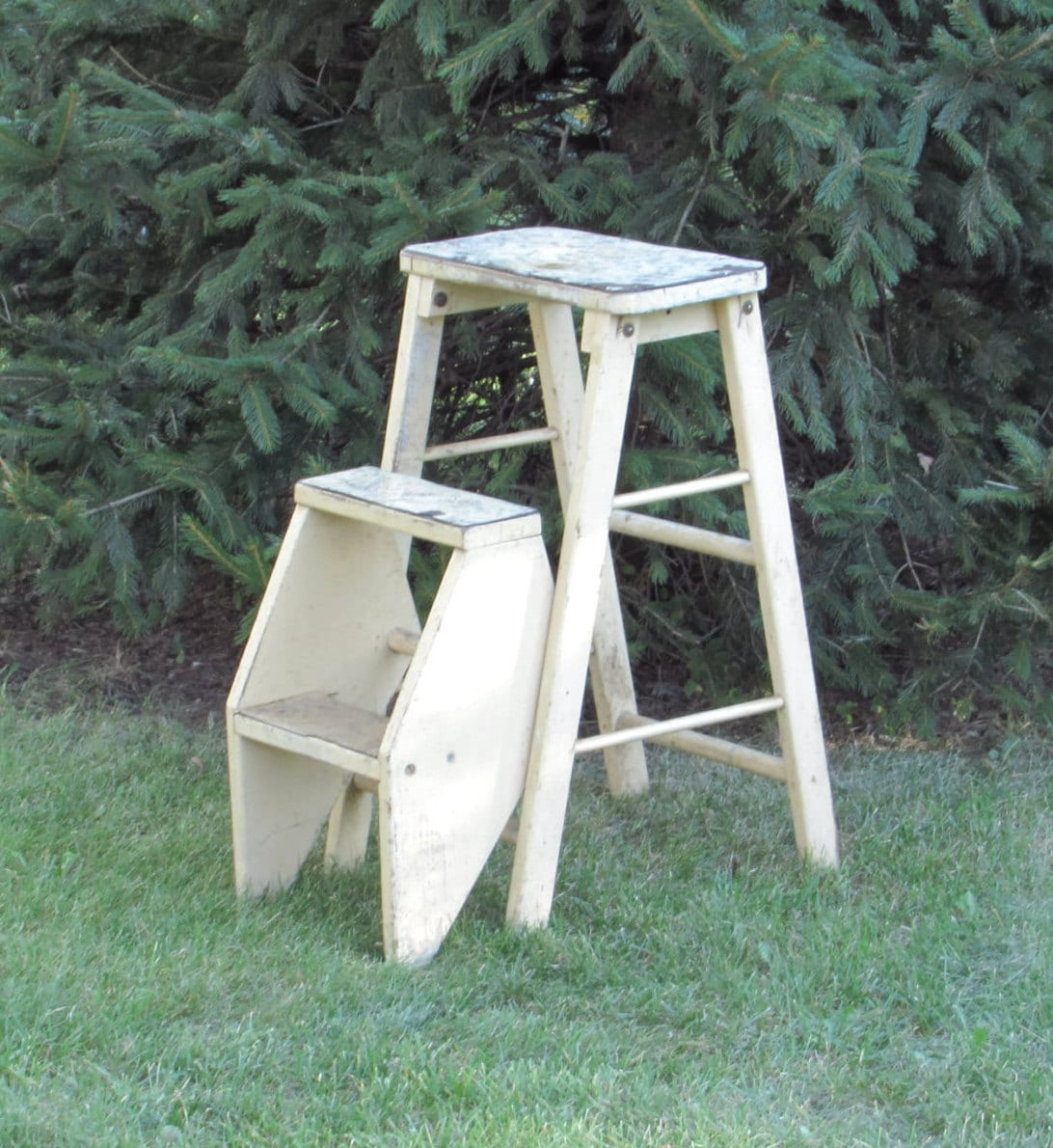 Shabby Chic Step Stool Ladder Combination Convertible