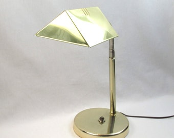 Brass Task Light - Reading - Accent - Table Lamp - Sleek Lines - Danish Modern - Mid Century Vintage Home Decor