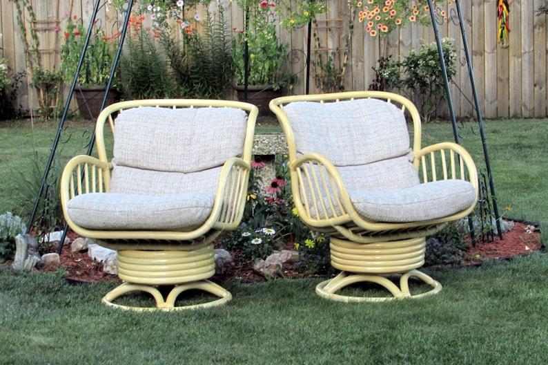 Rattan Swivel Rocking Chairs Pair   Vintage Bamboo   Wicker   Rattan    Furniture   Living Room   Bedroom   Patio   Lanai   Den