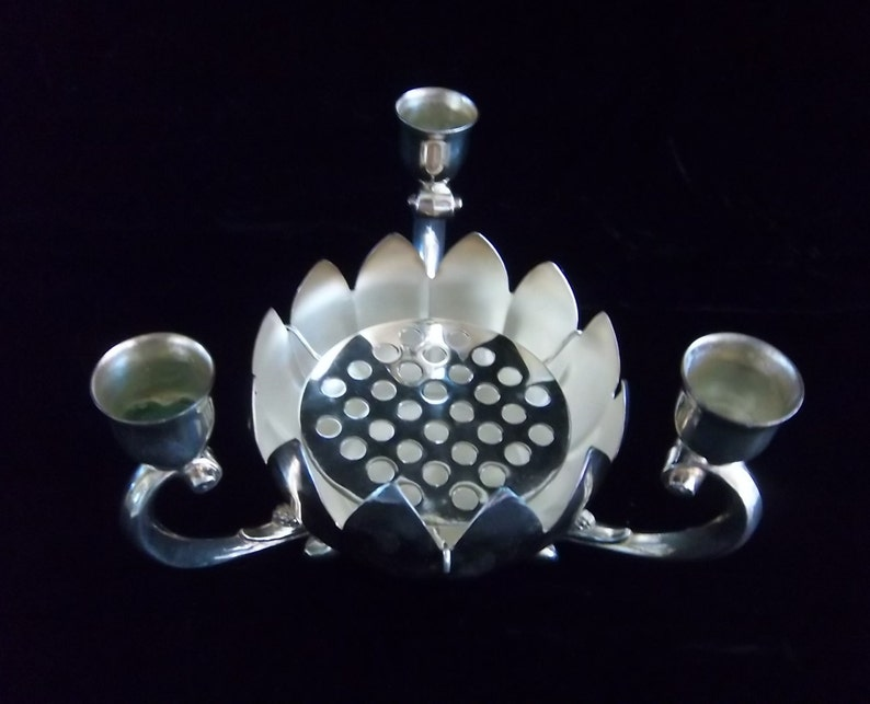 Leonard Silver Plate Candle Holder With Lotus Bowl And Flower Etsy