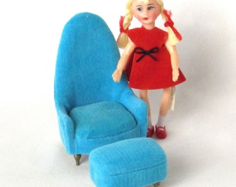 Petite Princess Fantasy Furniture Blue Velveteen Chair with Footstool in Original Box - 1964 Ideal Toy Corporation - Dolls Sold Separately