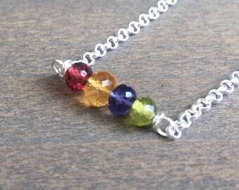 Rainbow Gemstone Bracelet // Bohemian Bracelet // Mixed Gemstone Bracelet // Custom Birthstone Bracelet