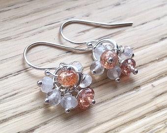 Moonstone Earrings // Sunstone Earrings // Gemstone Cluster Earrings // Refined Bohemian Jewelry // Boho Style // Boho Luxe Gemstone Jewelry