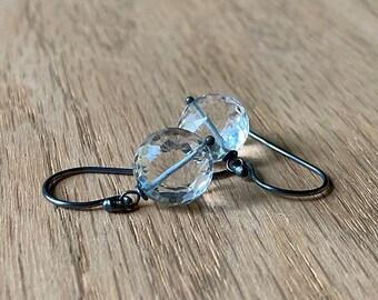 Crystal Quartz Earrings // Gemstone Earrings // Bohemian Earrings // Boho Luxe Jewelry // Oxidized Silver Jewelry