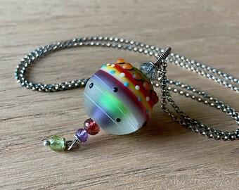 Galaxy Etched Art Glass Pendant // Artisan Glass Lampwork // Glass Jewelry