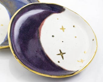 Modern Jewelry Catchall: Purple Gold Crescent Moon & Stars Plate