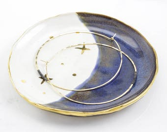 Modern Jewelry Catchall: Midnight Blue Gold Crescent Moon & Stars Plate