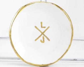 X Cross Monogram Wedding Personalized Ring Dish
