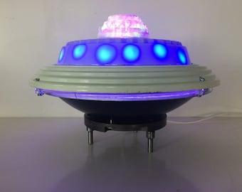 Alien Encounter. Illuminated UFO Art sculpture by Ferdinand Metz