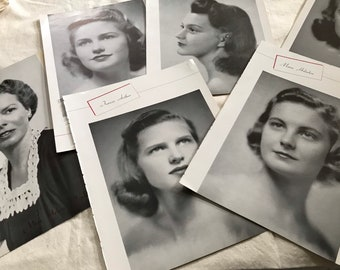 Vintage yearbook portrait pages from 1941. 6 pages, 9 portraits For junk journals, collage, mixed media, art journals, more