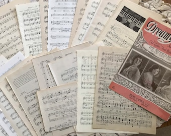Vintage sheet music pages 25 pieces includes one 3 page illustrated booklet. For junk journals, collage, mixed media, art journals, more