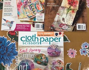 Cloth.Paper.Scissors Magazine-Collage, Mixed Media. Lot of 3 (C)