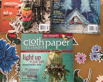 Cloth.Paper.Scissors Magazine-Collage, Mixed Media. Lot of 3 (A)