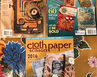 Cloth.Paper.Scissors Magazine-Collage, Mixed Media. Lot of 3 (E)
