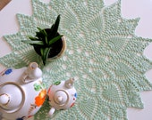 Mint green round crochet doily Fall table decor Lace tablecloth Cake table ideas centerpiece Bridesmaid Christmas gift idea for mom sister