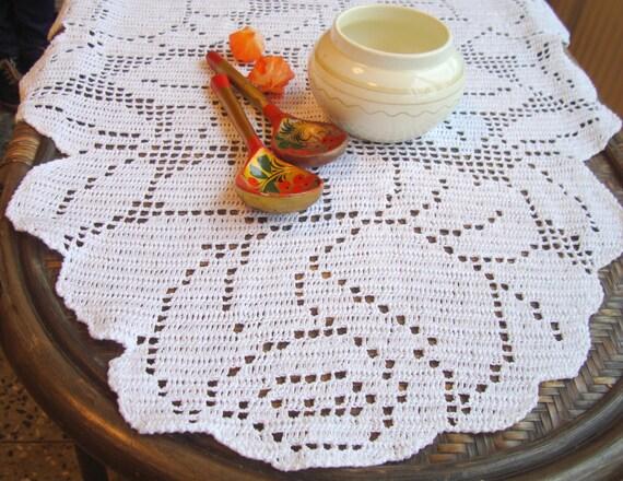 Filet Häkeln Ovale Tischdecke Spitze Tischläufer Herbst Tisch Etsy