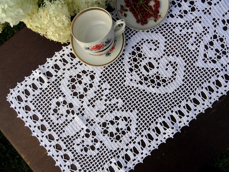 Lace Table Runner Butterfly Doily Crochet Rectangle Etsy