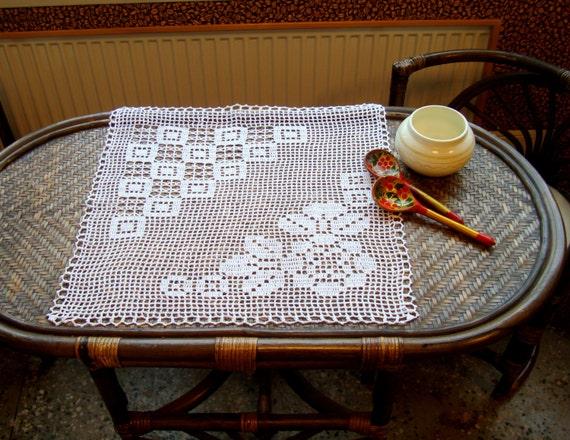 Witte Katoenen Kleedje Filet Haken Kunst Bloemen Tafelkleed Etsy