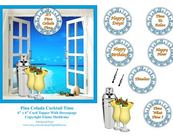 Pina Colada Cocktail Hour 6 x 6 Topper + Decoupage