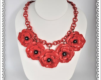 Rare 1940's Red Poppies Celluloid Statement Necklace