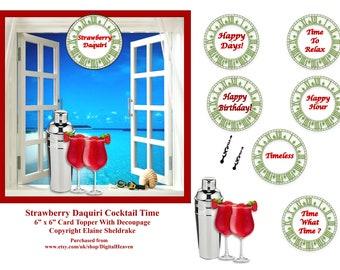 Strawberry Daquiri Cocktail Hour 6 x 6 Topper + Decoupage