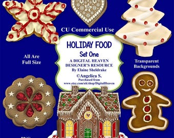 Christmas Holiday Foods - Set One - CU Designer Resource For Commercial Use, Personal Use, Card Making, Scrapbooking etc. - Full Size - PNG