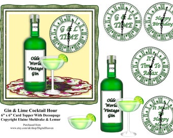"""Gin & Lime Cocktail Hour 6"""" x 6"""" Card Topper With Decoupage"""