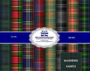 Tartan Set Two 12 x 12 Backing Paper Sheets For Card Making, Scrapbooking & Paper Crafts