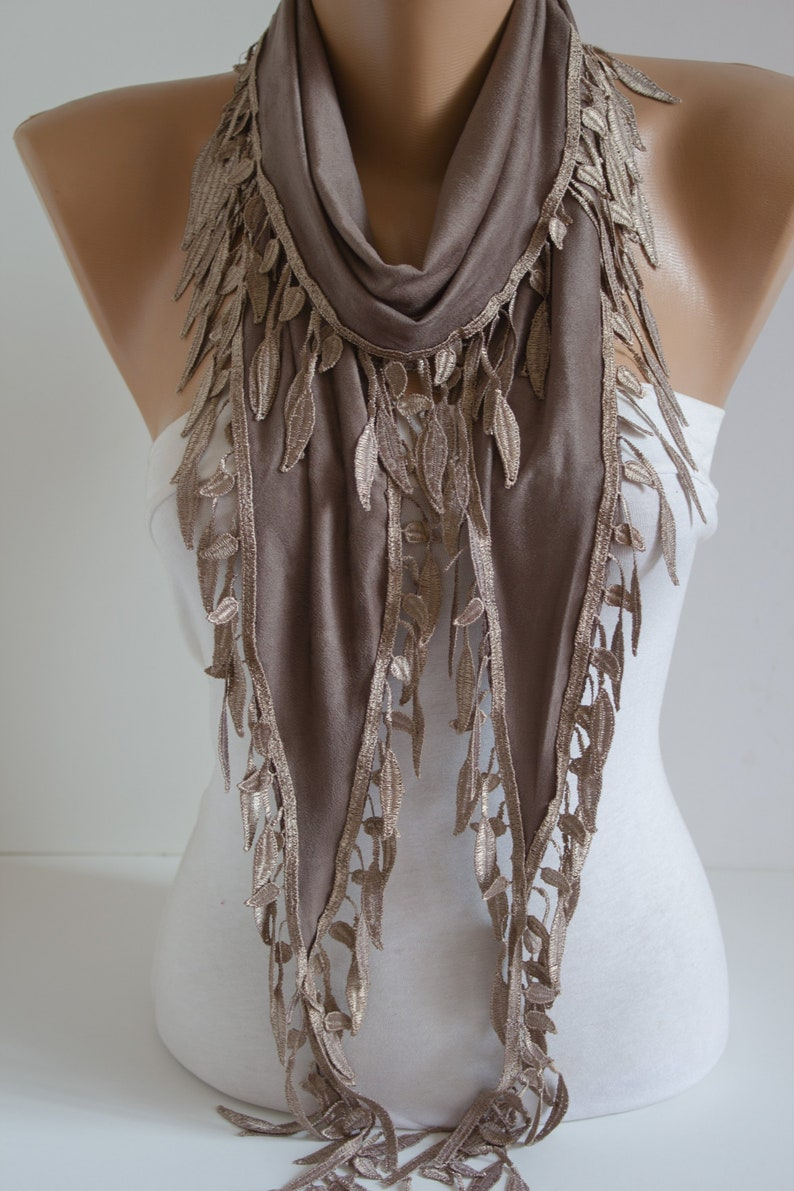 Mocha Shawl Scarf Lace Scarf with Lace Edge Milky Brown Scarf image 0
