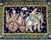 Vintage Kalaga Tapestry Sequins Beads Sacred White Elephant Royal Prince Wall Hanging On Blue Velvet