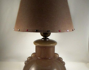 VTG Reverse Painted Glass Lamp Idealite USA with Vintage Shade
