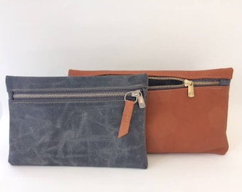 Waxed Canvas Zip Pouch