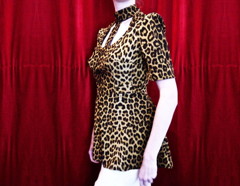 Leopard glam outfit animal print exotic space shoulders costume circus showgirl burlesque glamazon tunic dress Barbarella choker