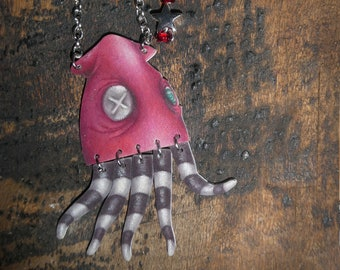 SQUID PENDANT | Illustrated - Whimsical - Unusual - Cute - Funky Necklace - Gift for Her - Tentacle Sea Creature Jewelry - Nautical Charm