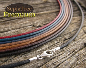 Leather round cord 2mm Necklace Rose with stainless steel magnetic Clasp 17x4mm.