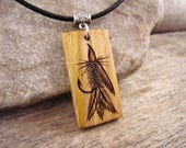 Trout Fly Fishing Necklace, Fishermans Necklace, Handmade Trout Fly Pendant On Leather Cord, Fishing Lure Outdoorsman Gift