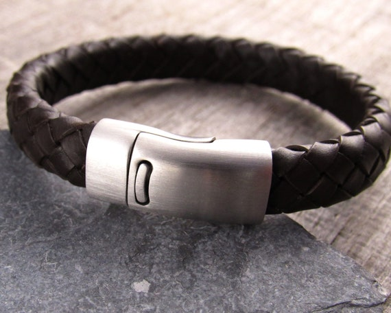 48221ee14 Rugged Leather Bracelet Brown Braided Leather Bracelet For