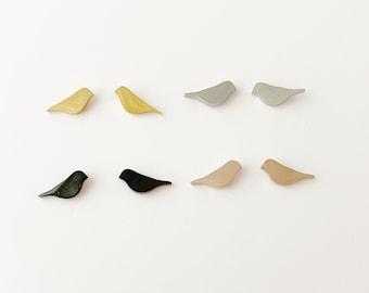 Bird Earrings: gold, rose gold, silver, black