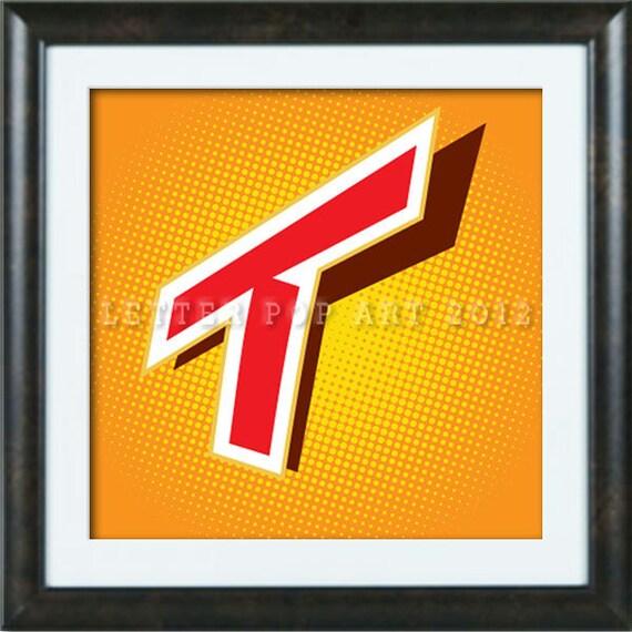 Alphabet Pop Art Print Using Twix Logo Letter T Etsy