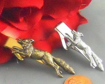 Silver Toned Running Fox Tie Clip
