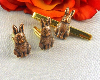 Easter cufflinks etsy easter sale rabbit cufflinks tie clip mens accessories mens gifts mens cuff links victorian steampunk gold plated set of three bunny negle Choice Image