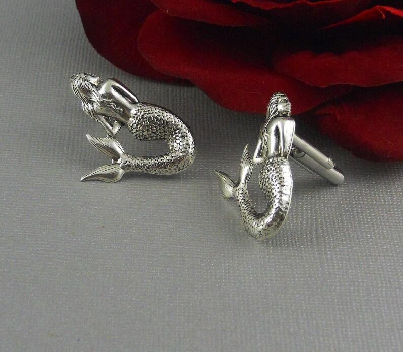 Antique Silver Nautical Fantasy Inspired Accessories Cufflink Mermaid men cuff links Steampunk Sale Cufflinks