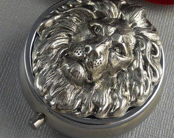 Silver Pill Box Pill Case, Vintage Gothic Inspired, Large Silver Lion Head Pill Box, Father's Day Mothers Day Gift For Her