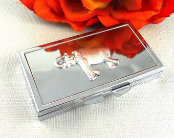Elephant Pill box,Silver  Pill Case, pillBox, Weekly Pill Box, Weekly Pill Case- Elephant weekly pill case-pill box frame-pill container