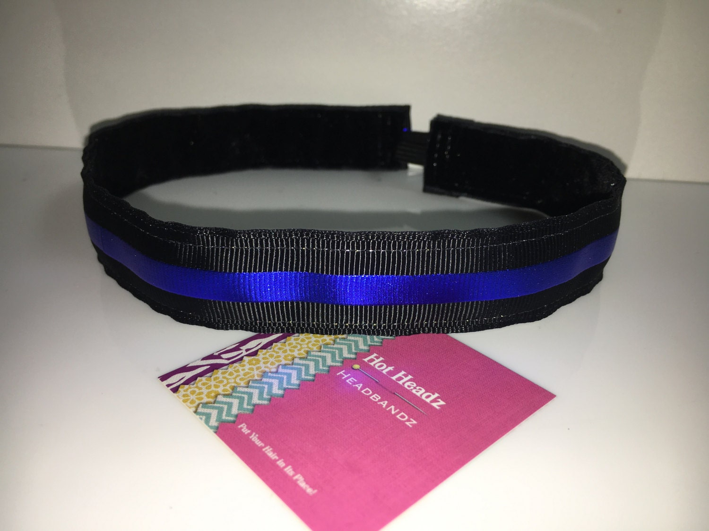Custom Non-slip headband 7 8 Back the Blue Thin Blue Line Support ... 897f8fb7d11