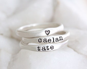 Custom Stackable Name Ring, Sterling Silver Stacking Rings, Skinny Ring, Date Ring, Baby Name Ring, Mother's Ring, Mothers Day Gift