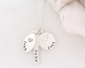 36c379396 Personalized Name Charm Necklace - Birthstone Bar Necklace - Heart Charm -  Mother's Day Gift- Sterling Silver Disc Necklace - Name Jewelry