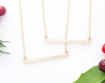 Gold Bar Necklace Etsy
