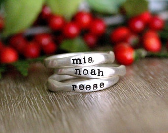 Stacking Name Rings- Personalized Ring Stack - Custom Set of Rings - Rings For Women - Handmade Ring - Stackable - Mom Rings with Kids Names